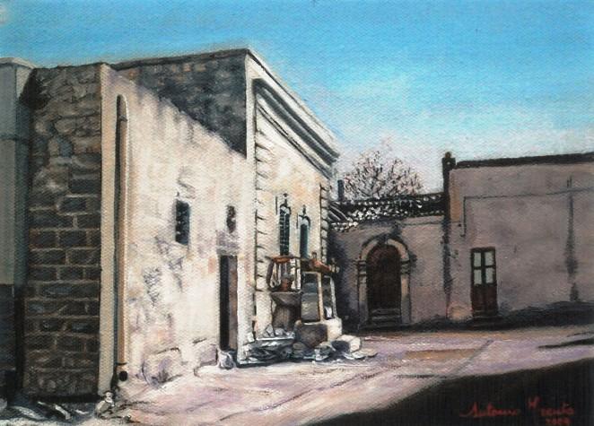 Borgagne, casa a corte, olio su tela, 2009