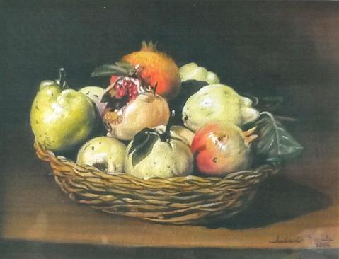 Cesta con frutta, olio su tela, 2014