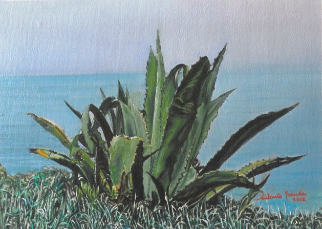 Marina con agave, olio su tela, 2012