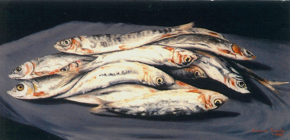 Pesce azzurro, natura morta, olio su tela, 1985