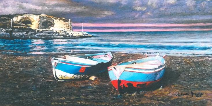 St. Andrea, marina con barche, 2015, olio-su-tela, 20x40