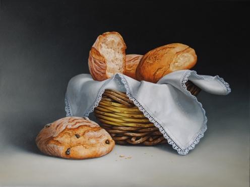 Biagio Magliani, 2014, Cesta di Pane, Olio su tela, 50×60