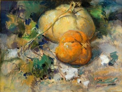 Giuseppe Casciaro, natura morta con zucche