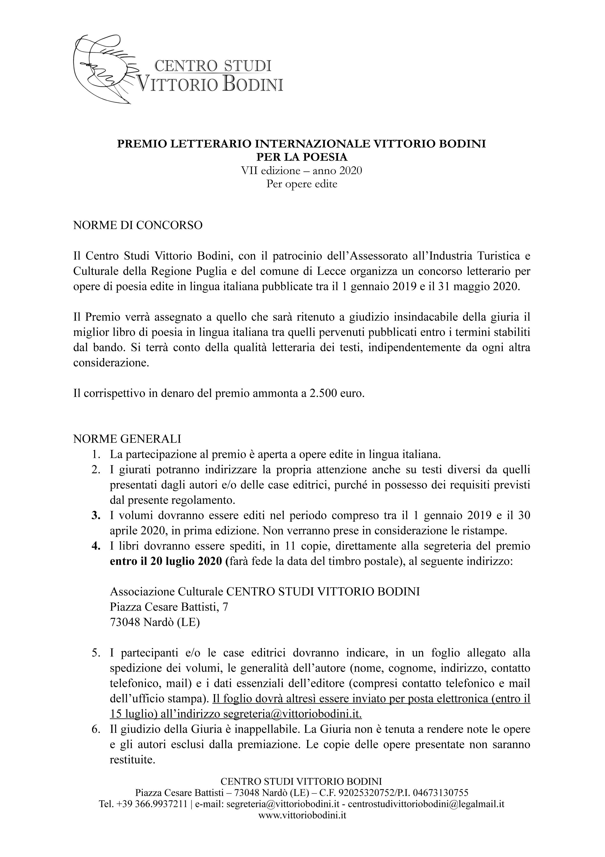 Premio Letterario Internazionale Vittorio Bodini per la poesia -